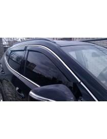 Дефлекторы окон (ветровики) Nissan Juke 2010 -> С Хром Молдингомом