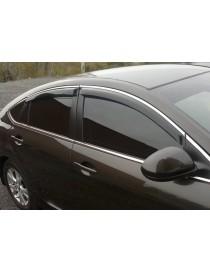 Дефлекторы окон (ветровики) Hyundai Accent 2010 -> Sedan С Хром Молдингомом
