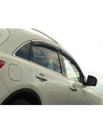 Дефлекторы окон (ветровики) Infiniti JX35 2012 -> С Хром Молдингом
